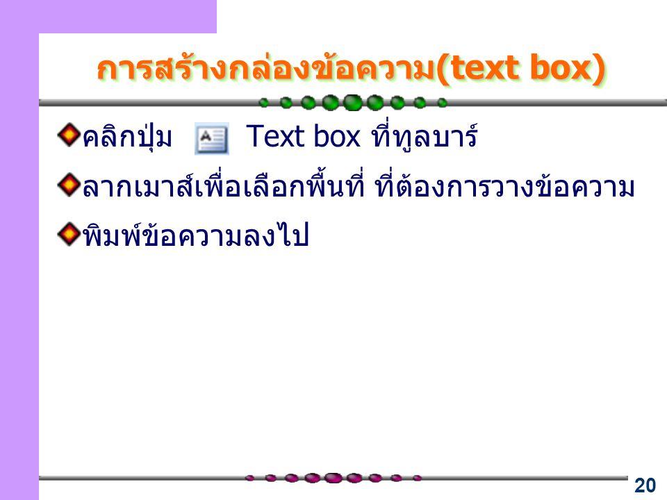 20 การสร้างกล่องข้อความ(text box) คลิกปุ่ม Text box ที่ทูลบาร์ ลากเมาส์เพื่อเลือกพื้นที่ ที่ต้องการวางข้อความ พิมพ์ข้อความลงไป