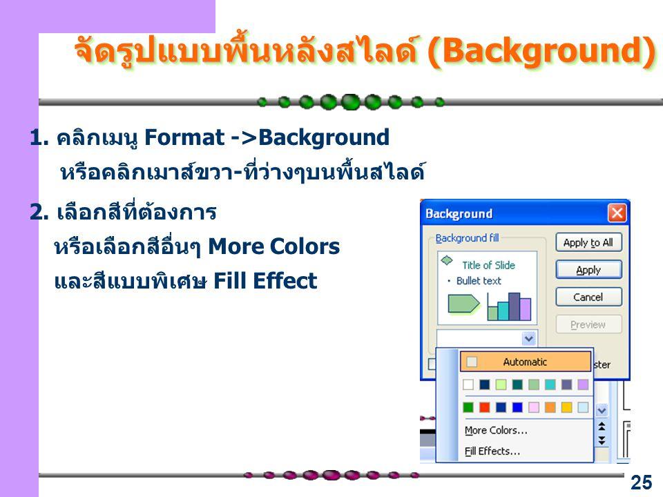 25 จัดรูปแบบพื้นหลังสไลด์ (Background) 1. คลิกเมนู Format ->Background หรือคลิกเมาส์ขวา-ที่ว่างๆบนพื้นสไลด์ 2. เลือกสีที่ต้องการ หรือเลือกสีอื่นๆ More