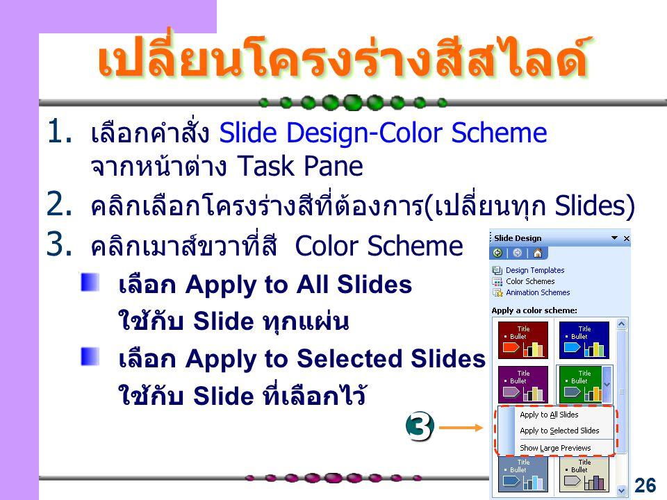 26 เปลี่ยนโครงร่างสีสไลด์เปลี่ยนโครงร่างสีสไลด์ 1. เลือกคำสั่ง Slide Design-Color Scheme จากหน้าต่าง Task Pane 2. คลิกเลือกโครงร่างสีที่ต้องการ(เปลี่ย