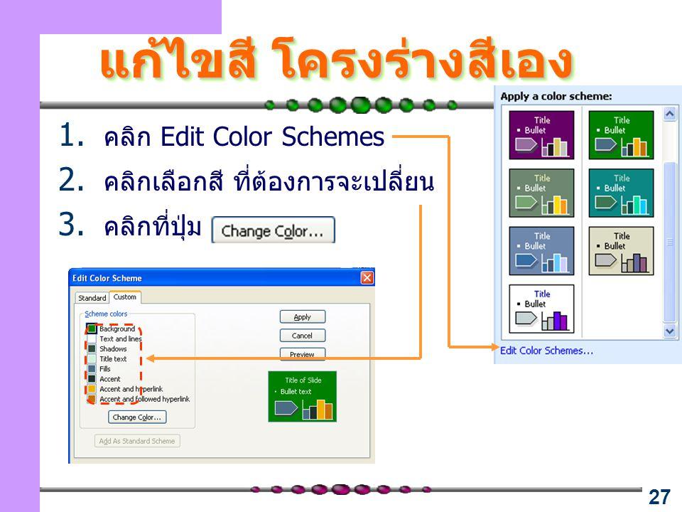 27 แก้ไขสี โครงร่างสีเอง 1. คลิก Edit Color Schemes 2. คลิกเลือกสี ที่ต้องการจะเปลี่ยน 3. คลิกที่ปุ่ม