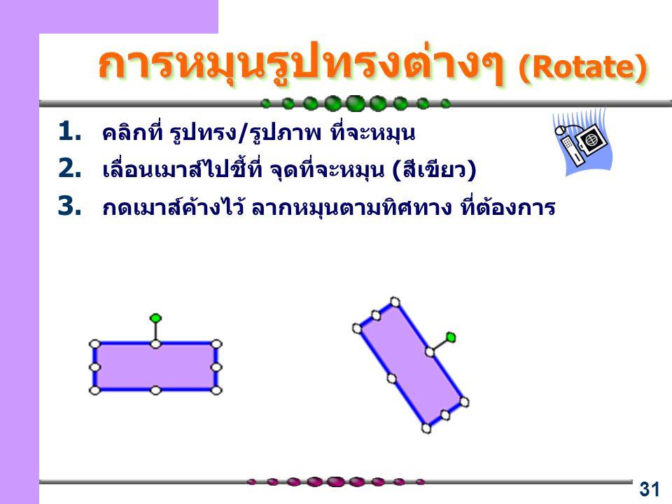 31 การหมุนรูปทรงต่างๆ (Rotate) 1. คลิกที่ รูปทรง/รูปภาพ ที่จะหมุน 2. เลื่อนเมาส์ไปชี้ที่ จุดที่จะหมุน (สีเขียว) 3. กดเมาส์ค้างไว้ ลากหมุนตามทิศทาง ที่