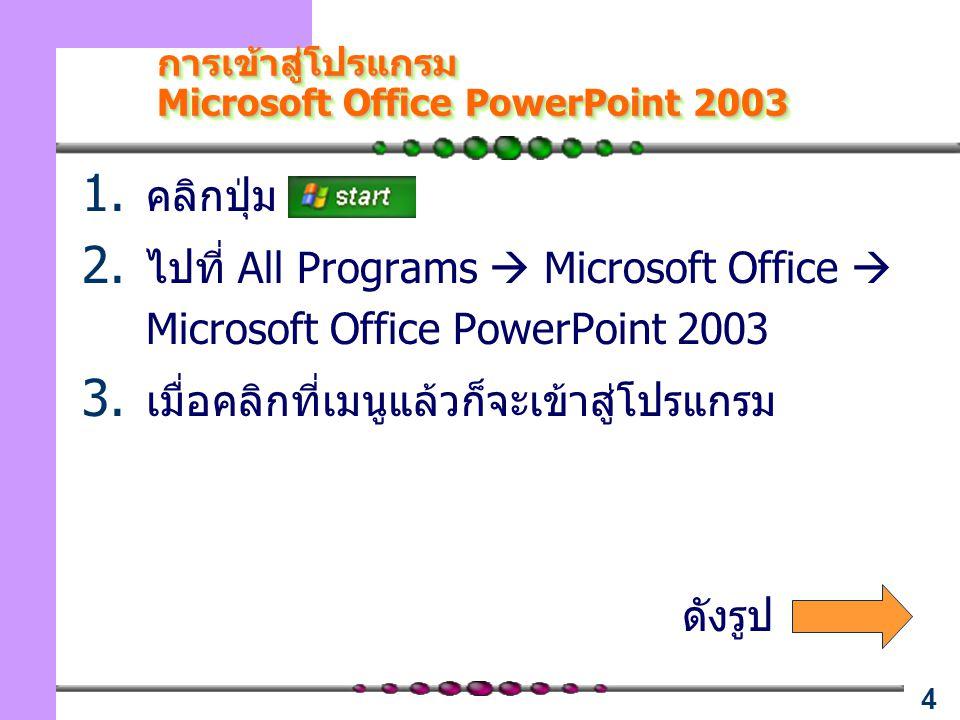 4 การเข้าสู่โปรแกรม Microsoft Office PowerPoint 2003 การเข้าสู่โปรแกรม Microsoft Office PowerPoint 2003 1. คลิกปุ่ม 2. ไปที่ All Programs  Microsoft