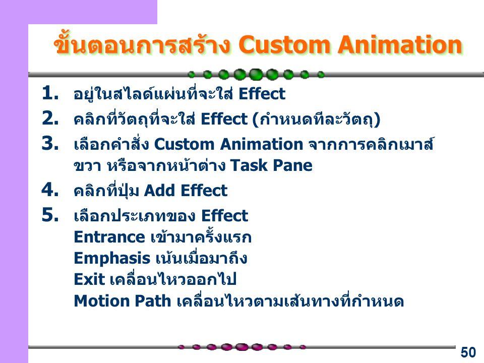 50 ขั้นตอนการสร้าง Custom Animation 1. อยู่ในสไลด์แผ่นที่จะใส่ Effect 2. คลิกที่วัตถุที่จะใส่ Effect (กำหนดทีละวัตถุ) 3. เลือกคำสั่ง Custom Animation