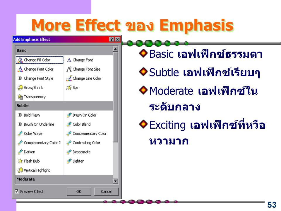 53 More Effect ของ Emphasis Basic เอฟเฟ็กซ์ธรรมดา Subtle เอฟเฟ็กซ์เรียบๆ Moderate เอฟเฟ็กซ์ใน ระดับกลาง Exciting เอฟเฟ็กซ์ที่หวือ หวามาก