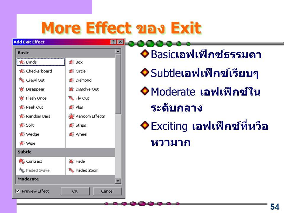 54 More Effect ของ Exit Basicเอฟเฟ็กซ์ธรรมดา Subtleเอฟเฟ็กซ์เรียบๆ Moderate เอฟเฟ็กซ์ใน ระดับกลาง Exciting เอฟเฟ็กซ์ที่หวือ หวามาก
