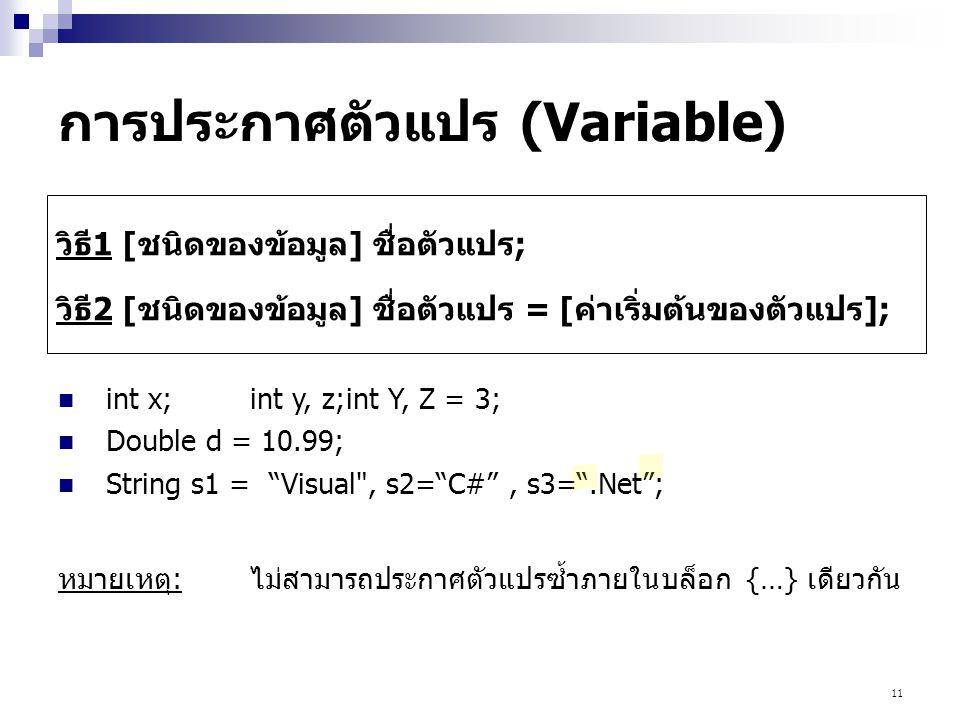 11 การประกาศตัวแปร (Variable) วิธี1 [ชนิดของข้อมูล] ชื่อตัวแปร; วิธี2 [ชนิดของข้อมูล] ชื่อตัวแปร = [ค่าเริ่มต้นของตัวแปร]; int x;int y, z;int Y, Z = 3
