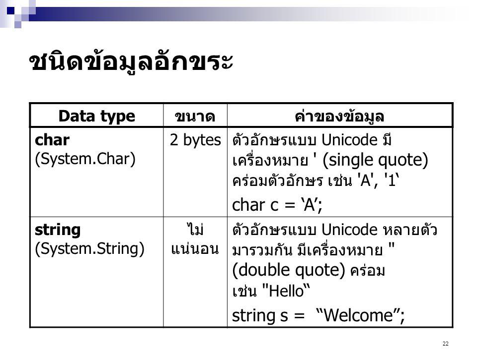 22 ชนิดข้อมูลอักขระ Data typeขนาดค่าของข้อมูล char (System.Char) 2 bytesตัวอักษรแบบ Unicode มี เครื่องหมาย ' (single quote) คร่อมตัวอักษร เช่น ' A ',