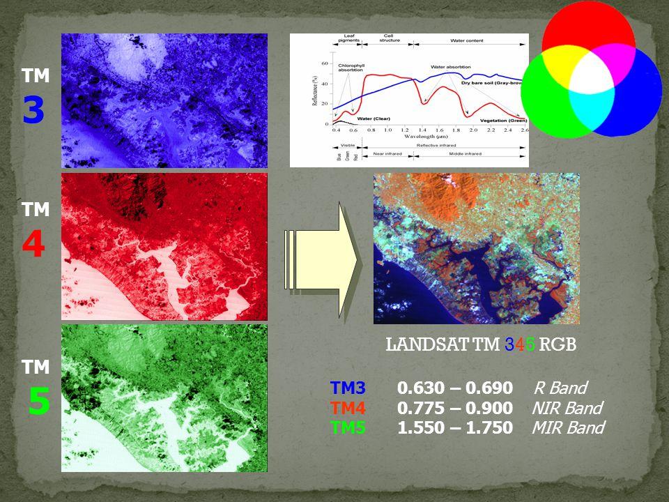 TM 3 TM 4 TM 5 LANDSAT TM 345 RGB TM30.630 – 0.690 R Band TM40.775 – 0.900NIR Band TM51.550 – 1.750MIR Band