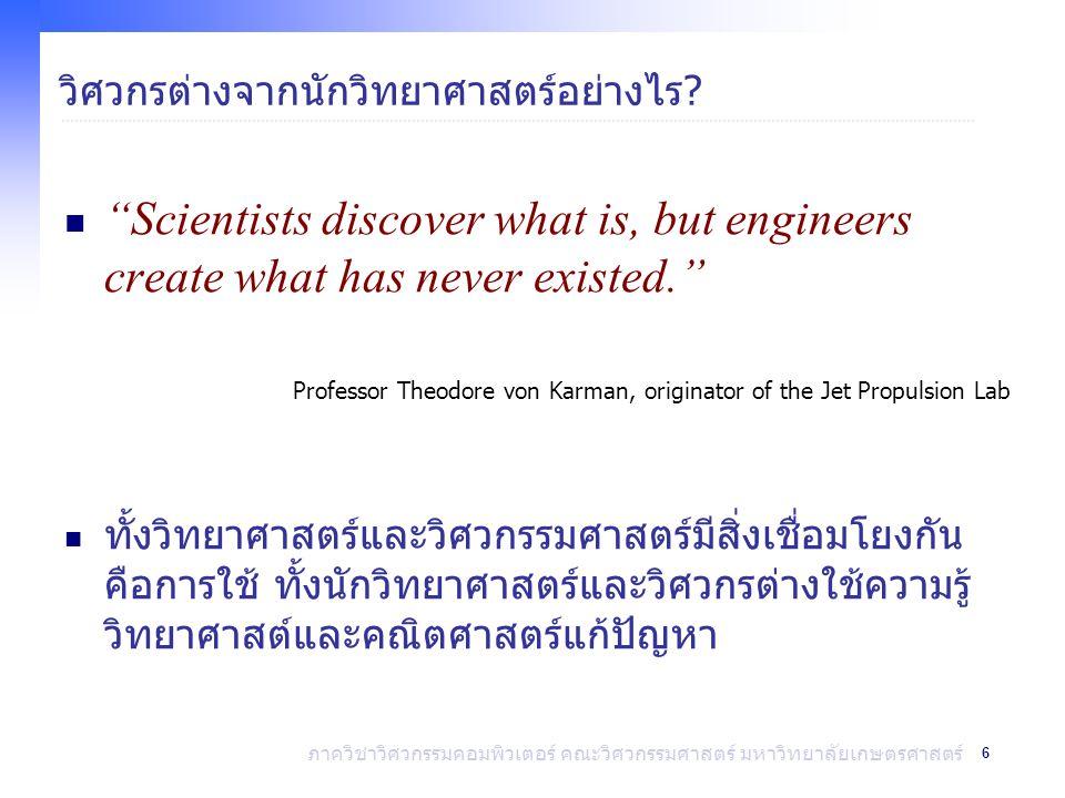 7 ภาควิชาวิศวกรรมคอมพิวเตอร์ คณะวิศวกรรมศาสตร์ มหาวิทยาลัยเกษตรศาสตร์ งานของวิศวกร ออกแบบ วิจัย พัฒนา การผลิต งานการตลาด วางแผน ผลิตภัณฑ์ ทดสอบ งานขาย ควบคุม คุณภาพ วิทยาศาสตร์ วิศวกรรม เทคโนโลยี