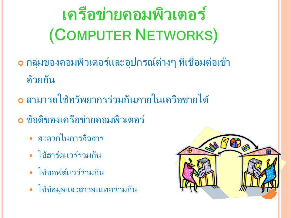 เครือข่ายคอมพิวเตอร์ (C OMPUTER N ETWORKS ) กลุ่มของคอมพิวเตอร์และอุปกรณ์ต่างๆ ที่เชื่อมต่อเข้า ด้วยกัน สามารถใช้ทรัพยากรร่วมกันภายในเครือข่ายได้ ข้อดีของเครือข่ายคอมพิวเตอร์ สะดวกในการสื่อสาร ใช้ฮาร์ดแวร์ร่วมกัน ใช้ซอฟต์แวร์ร่วมกัน ใช้ข้อมูลและสารสนเทศร่วมกัน