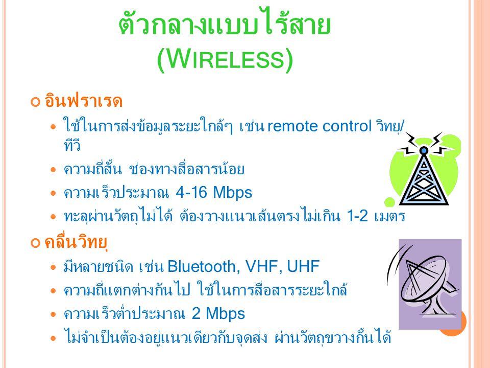 ตัวกลางแบบไร้สาย (W IRELESS ) คลื่นไมโครเวฟ เป็นคลื่นวิทยุชนิดหนึ่งที่มีความถี่สูงระดับ GHz เป็นคลื่นเส้นตรงในระดับสายตา ต้องมีจานรับส่งตามยอดตึก/เขาเพื่อส่งต่อสัญญาณ ความเร็วสูง ติดตั้งง่าย ประหยัด สภาวะอากาศมีผลต่อสัญญาณ ดาวเทียม คือสถานีไมโครเวฟลอยฟ้า รับสัญญาณจากโลก ดาวเทียม 3 ดวงก็ครอบคลุมโลกได้หมด ค่าอุปกรณ์ ติดตั้ง บริการแพง ความเร็วในส่งข้อมูลค่อนข้างช้า (166-400 Kbps)