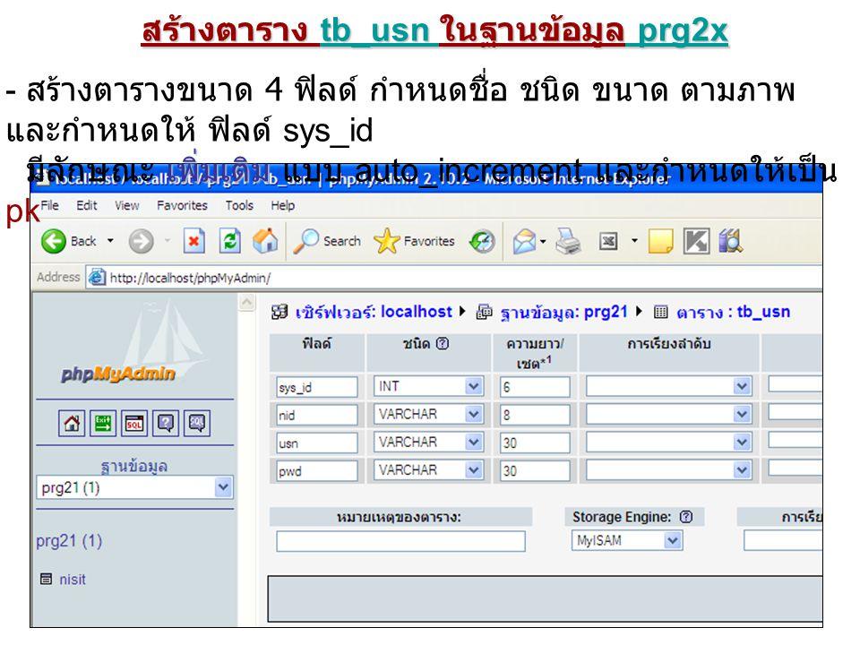 สร้างตาราง tb_usn ในฐานข้อมูล prg2x - สร้างตารางขนาด 4 ฟิลด์ กำหนดชื่อ ชนิด ขนาด ตามภาพ และกำหนดให้ ฟิลด์ sys_id เพิ่มเติม มีลักษณะ เพิ่มเติม แบบ auto_increment และกำหนดให้เป็น pk