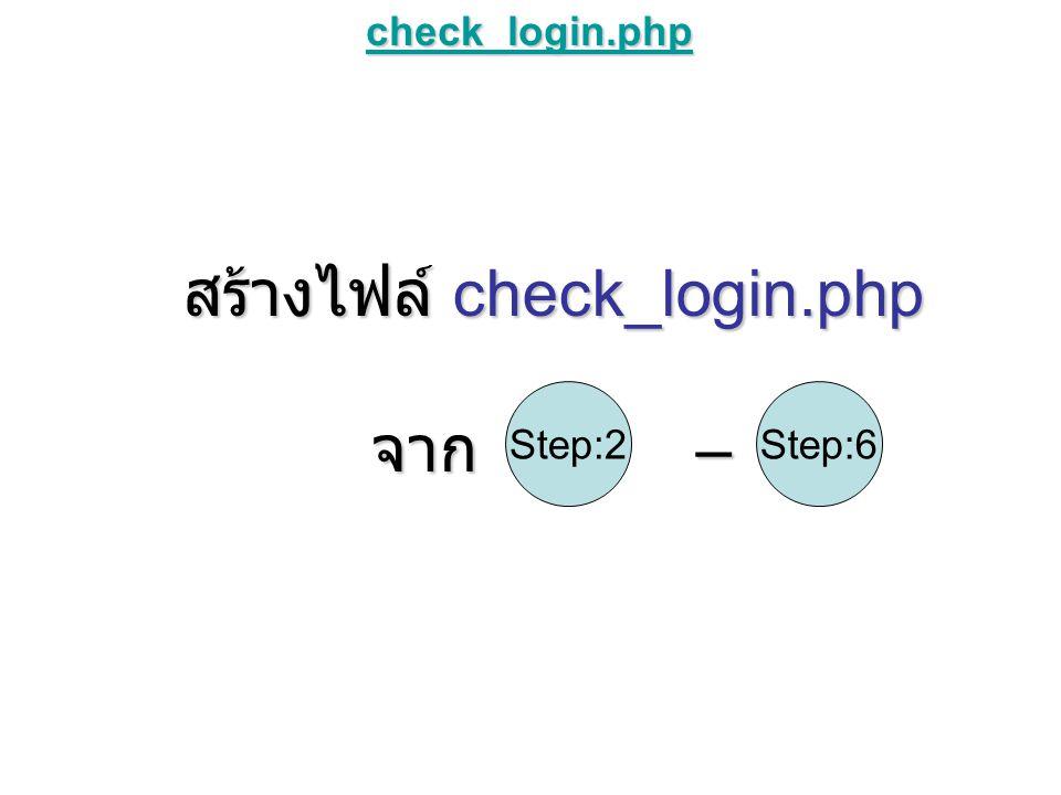 check_login.php สร้างไฟล์ check_login.php จาก – Step:6Step:2