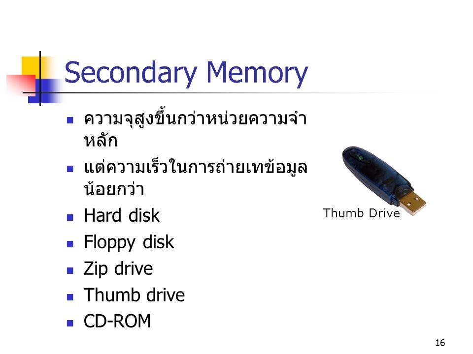 15 หน่วยความจำหลัก RAM เก็บชุดคำสั่งและข้อมูลต่างๆ ไมโครโปรเซสเซอร์จะอ่านข้อมูลจาก หน่วยความจำชนิดนี้เป็นหลัก RAM (Random Access Memory) สามารถเขียนหรืออ่านข้อมูลได้ เก็บข้อมูลไม่ถาวร ข้อมูลจะสูญหายหากขาด ไฟเลี้ยง ROM (Read Only Memory) อ่านข้อมูลได้อย่างเดียว เก็บข้อมูลได้ถาวร แม้ว่าจะไม่มีไฟเลี้ยง