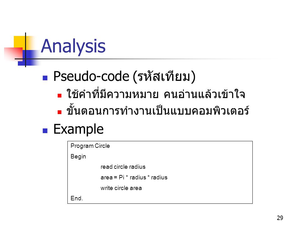 28 Analysis Example : Circle area problem Input circle radius ( รัศมี ) Process calculate circle area Output Circle area