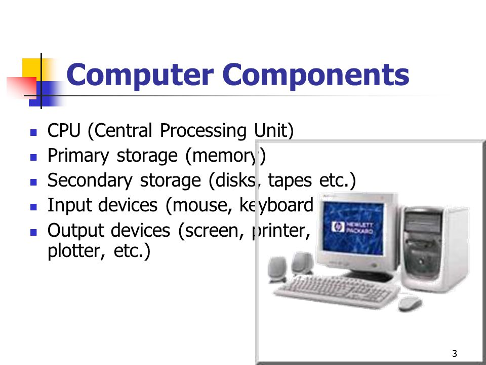 3 Computer Components CPU (Central Processing Unit) Primary storage (memory) Secondary storage (disks, tapes etc.) Input devices (mouse, keyboard etc.) Output devices (screen, printer, plotter, etc.)