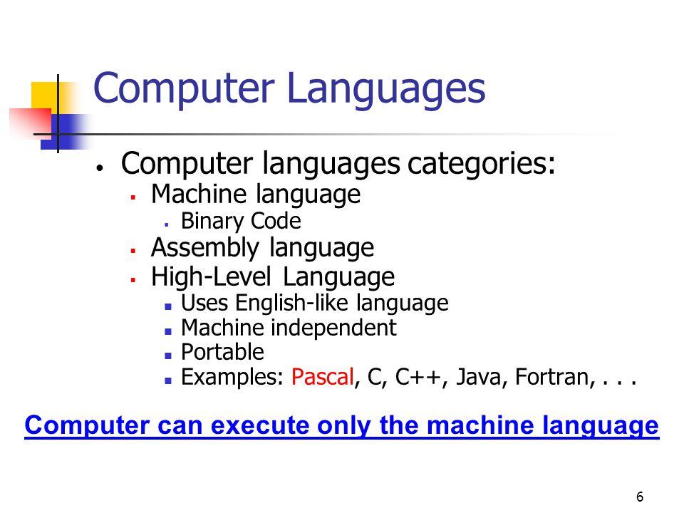 6 Computer Languages Computer languages categories:  Machine language  Binary Code  Assembly language  High-Level Language Uses English-like language Machine independent Portable Examples: Pascal, C, C++, Java, Fortran,...