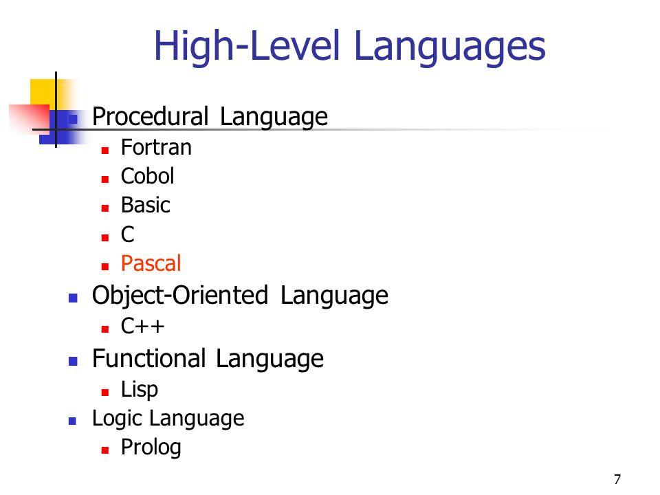 7 High-Level Languages Procedural Language Fortran Cobol Basic C Pascal Object-Oriented Language C++ Functional Language Lisp Logic Language Prolog