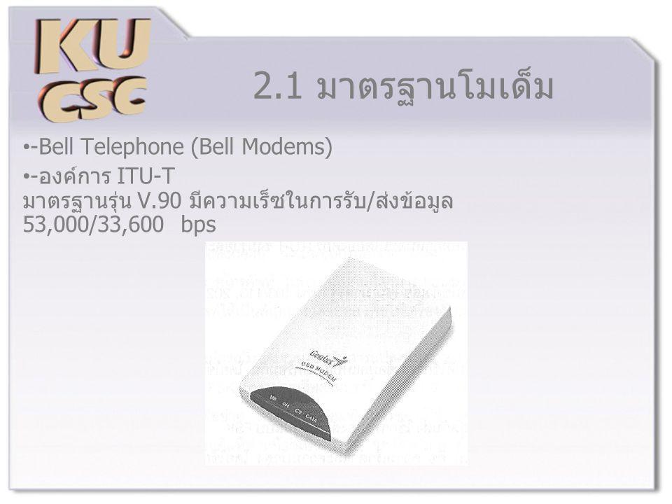2.1 มาตรฐานโมเด็ม -Bell Telephone (Bell Modems) -องค์การ ITU-T มาตรฐานรุ่น V.90 มีความเร็ซในการรับ/ส่งข้อมูล 53,000/33,600 bps