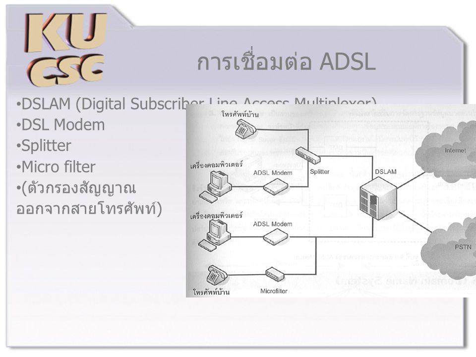 การเชื่อมต่อ ADSL DSLAM (Digital Subscriber Line Access Multiplexer) DSL Modem Splitter Micro filter (ตัวกรองสัญญาณ ออกจากสายโทรศัพท์)