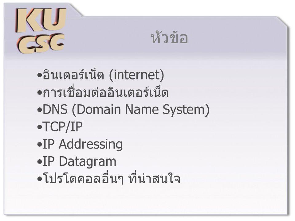 หัวข้อ อินเตอร์เน็ต (internet) การเชื่อมต่ออินเตอร์เน็ต DNS (Domain Name System) TCP/IP IP Addressing IP Datagram โปรโตคอลอื่นๆ ที่น่าสนใจ