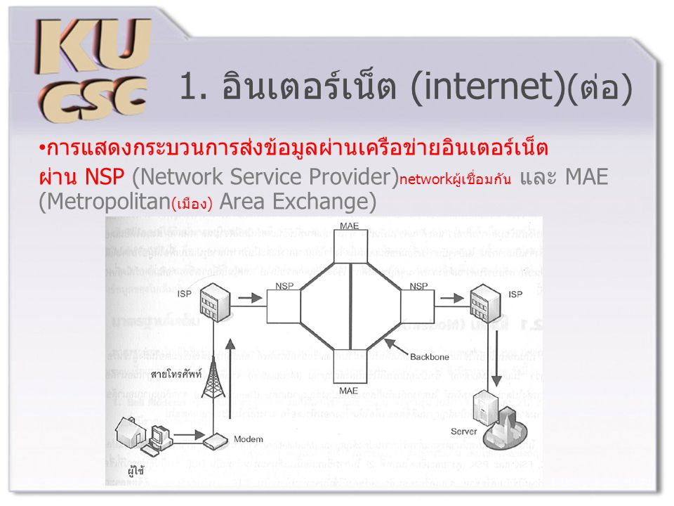 การแสดงกระบวนการส่งข้อมูลผ่านเครือข่ายอินเตอร์เน็ต ผ่าน NSP (Network Service Provider) networkผู้เชื่อมกัน และ MAE (Metropolitan (เมือง) Area Exchange)