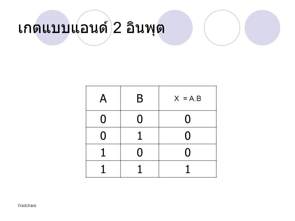 Wadchara เกตแบบแอนด์ 2 อินพุต AB X = A.B 000 010 100 111