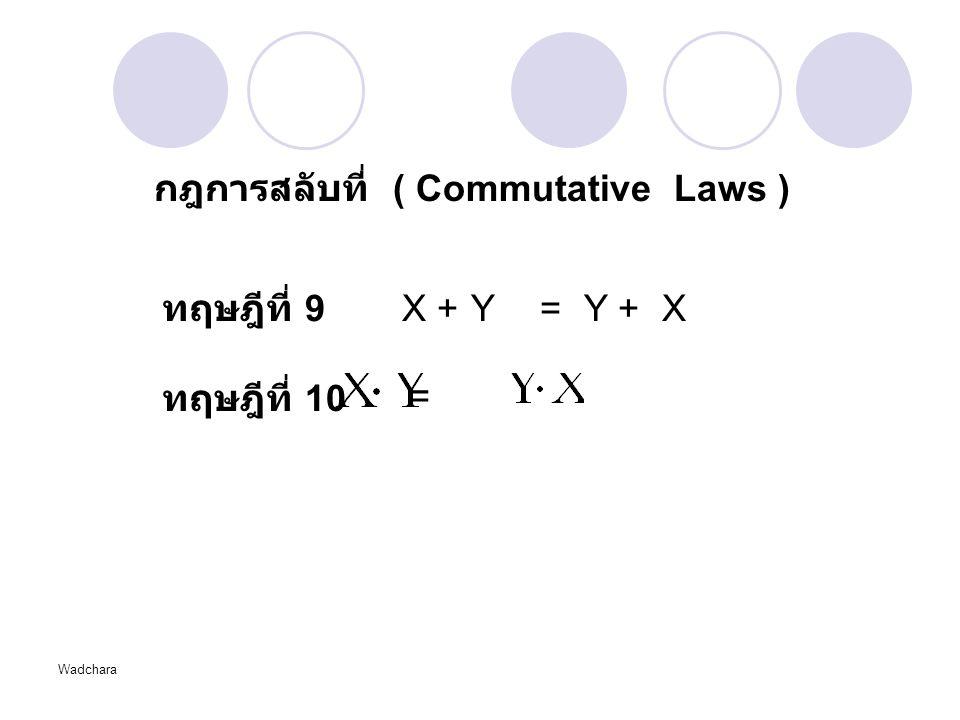 Wadchara กฎการสลับที่ ( Commutative Laws ) ทฤษฎีที่ 9X + Y = Y + X ทฤษฎีที่ 10 =