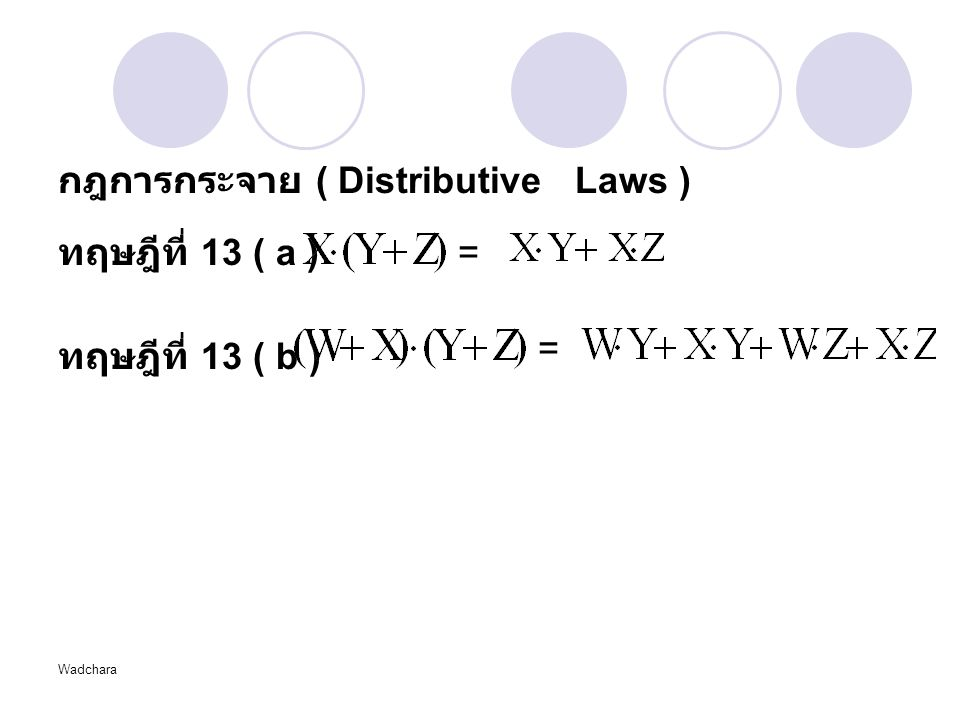 Wadchara กฎการกระจาย ( Distributive Laws ) ทฤษฎีที่ 13 ( a ) ทฤษฎีที่ 13 ( b ) = =