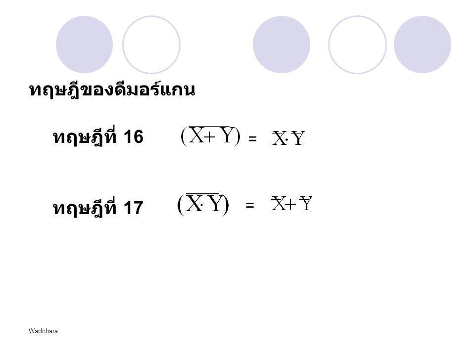 Wadchara ทฤษฎีของดีมอร์แกน ทฤษฎีที่ 16 ทฤษฎีที่ 17 = =
