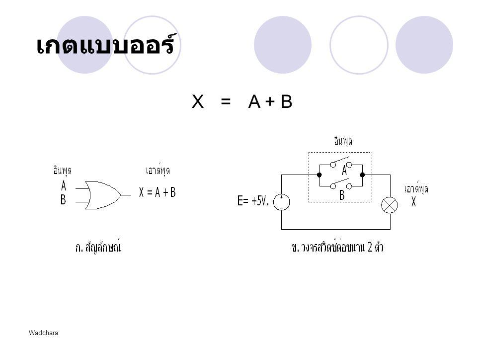 Wadchara เกตแบบออร์ X = A + B