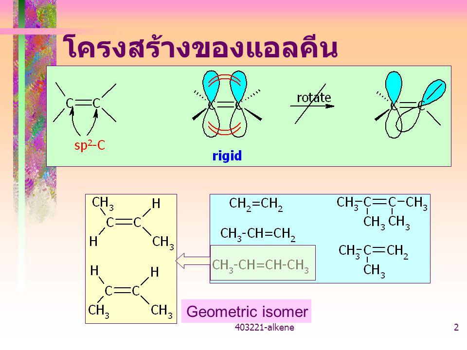 403221-alkene1 403221 เคมีอินทรีย์ แอลคีน ผศ. ดร. วราภรณ์ พาราสุข ภาควิชาเคมี คณะวิทยาศาสตร์ มหาวิทยาลัยเกษตรศาสตร์
