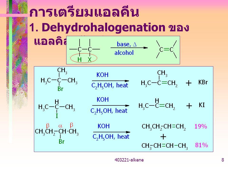 403221-alkene7 สมบัติทางกายภาพ ของแอลคีน คล้ายกับแอลเคน จุดเดือด – แอลคีนมีจุดเดือดใกล้เคียงกับแอลเคนที่มี มวลโมเลกุลใกล้เคียงกัน การละลาย – แอลคีนละลายน้ำได้น้อยมาก แต่ละลาย ในตัวทำละลายไม่มีขั้ว ความหนาแน่น – แอลคีนมีความหนาแน่นต่ำกว่าน้ำ