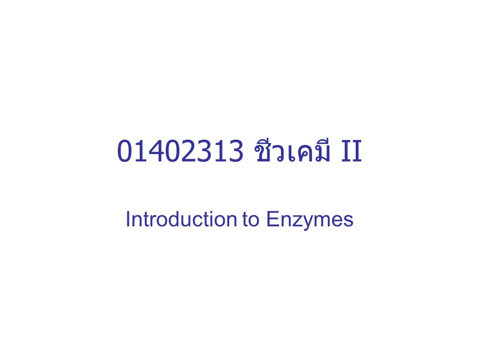 01402313 ชีวเคมี II Introduction to Enzymes