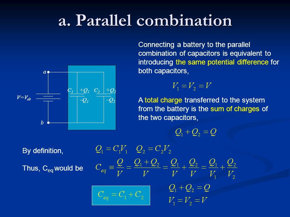 +Q 1 Q1Q1 C1C1 V=V ab a b +Q 2 Q2Q2 C2C2 a. Parallel combination Connecting a battery to the parallel combination of capacitors is equivalent to i