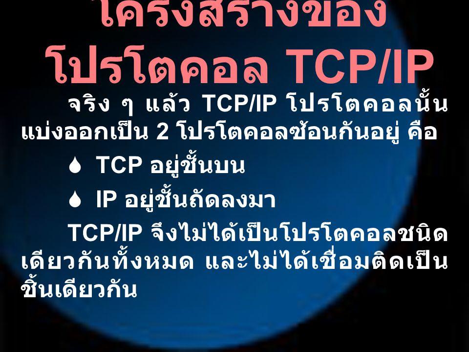 โครงสร้างของ โปรโตคอล TCP/IP จริง ๆ แล้ว TCP/IP โปรโตคอลนั้น แบ่งออกเป็น 2 โปรโตคอลซ้อนกันอยู่ คือ  TCP อยู่ชั้นบน  IP อยู่ชั้นถัดลงมา TCP/IP จึงไม่