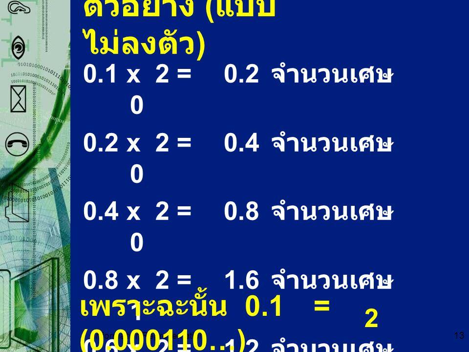 Information Representation13 ตัวอย่าง ( แบบ ไม่ลงตัว ) 0.1 x 2=0.2 จำนวนเศษ 0 0.2 x 2=0.4 จำนวนเศษ 0 0.4 x 2=0.8 จำนวนเศษ 0 0.8 x 2=1.6 จำนวนเศษ 1 0.6