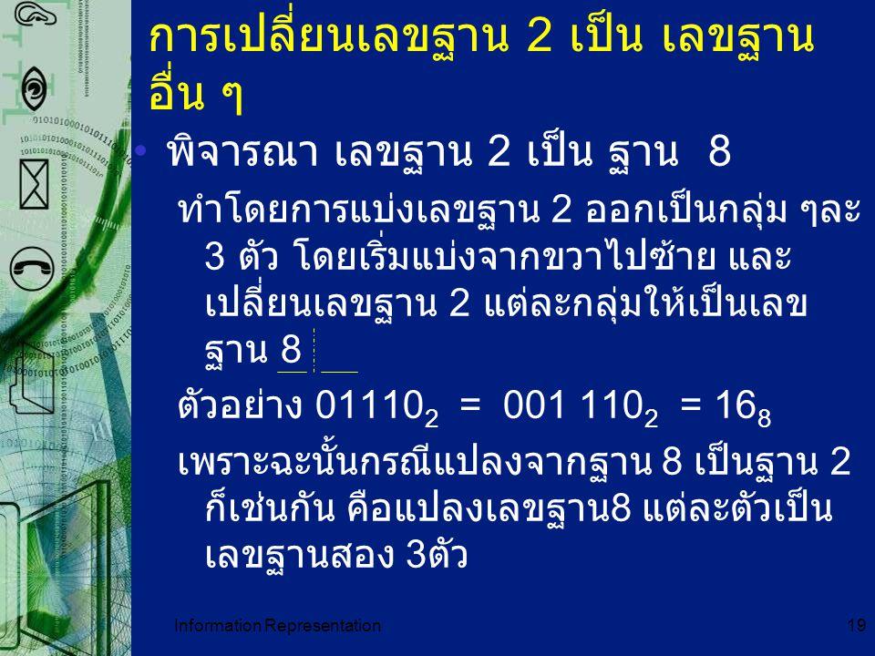 Information Representation19 การเปลี่ยนเลขฐาน 2 เป็น เลขฐาน อื่น ๆ พิจารณา เลขฐาน 2 เป็น ฐาน 8 ทำโดยการแบ่งเลขฐาน 2 ออกเป็นกลุ่ม ๆละ 3 ตัว โดยเริ่มแบ่