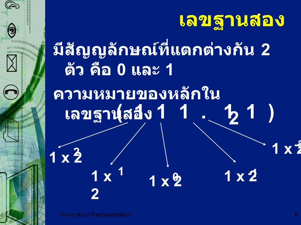 Information Representation6 เลขฐานสอง มีสัญญลักษณ์ที่แตกต่างกัน 2 ตัว คือ 0 และ 1 ความหมายของหลักใน เลขฐานสอง ( 1 1 1. 1 1 ) 2 1 x 2 -2 0 1 2