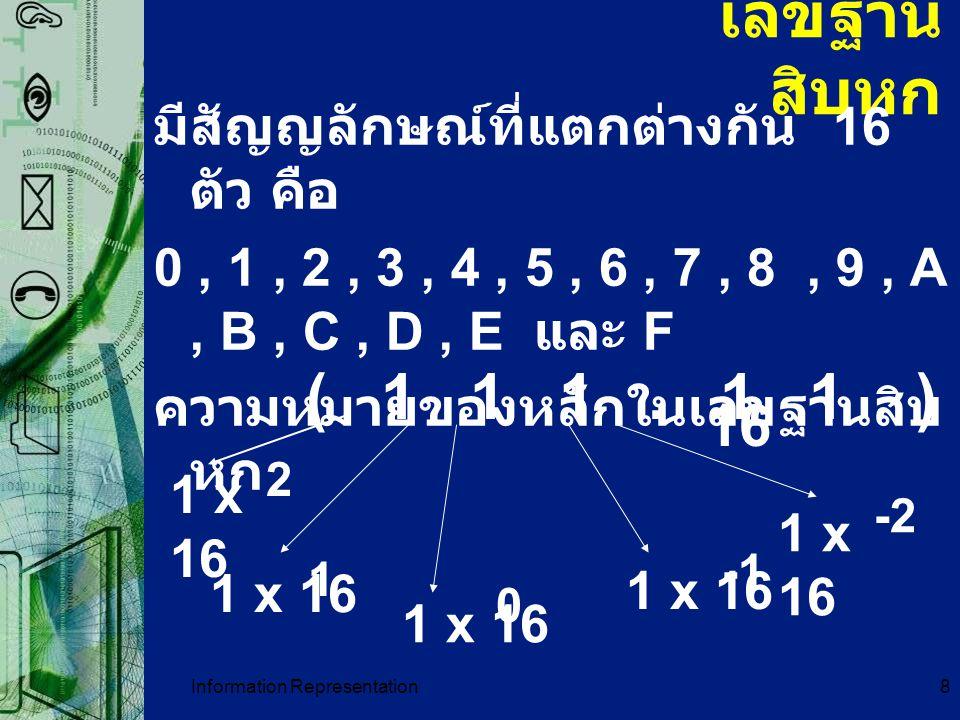 Information Representation19 การเปลี่ยนเลขฐาน 2 เป็น เลขฐาน อื่น ๆ พิจารณา เลขฐาน 2 เป็น ฐาน 8 ทำโดยการแบ่งเลขฐาน 2 ออกเป็นกลุ่ม ๆละ 3 ตัว โดยเริ่มแบ่งจากขวาไปซ้าย และ เปลี่ยนเลขฐาน 2 แต่ละกลุ่มให้เป็นเลข ฐาน 8 ตัวอย่าง 01110 2 = 001 110 2 = 16 8 เพราะฉะนั้นกรณีแปลงจากฐาน 8 เป็นฐาน 2 ก็เช่นกัน คือแปลงเลขฐาน 8 แต่ละตัวเป็น เลขฐานสอง 3 ตัว
