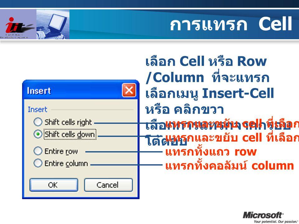 การแทรก Cell เลือก Cell หรือ Row /Column ที่จะแทรก เลือกเมนู Insert-Cell หรือ คลิกขวา เลือกการแทรกจากกรอบ โต้ตอบ แทรกและขยับ cell ที่เลือกไปทางขวา แทร