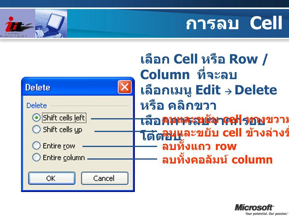 การลบ Cell เลือก Cell หรือ Row / Column ที่จะลบ เลือกเมนู Edit  Delete หรือ คลิกขวา เลือกการลบจากกรอบ โต้ตอบ ลบและขยับ cell ทางขวามาแทนที่ ลบและขยับ