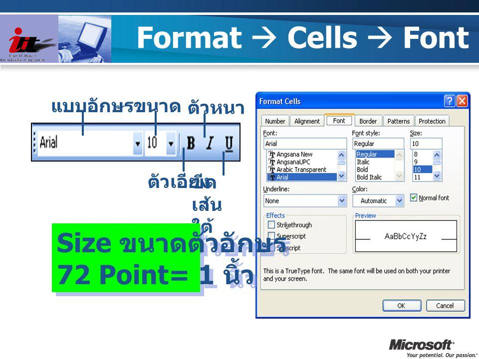 Format  Cells  Font แบบอักษรขนาด ตัวเอียง ตัวหนา ขีด เส้น ใต้ Size ขนาดตัวอักษร 72 Point= 1 นิ้ว Size ขนาดตัวอักษร 72 Point= 1 นิ้ว