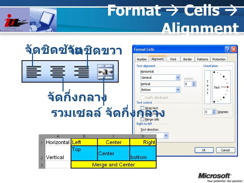Format  Cells  Alignment จัดชิดซ้าย จัดกึ่งกลาง จัดชิดขวา รวมเซลล์ จัดกึ่งกลาง