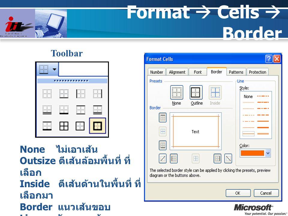Format  Cells  Border Toolbar None ไม่เอาเส้น Outsize ตีเส้นล้อมพื้นที่ ที่ เลือก Inside ตีเส้นด้านในพื้นที่ ที่ เลือกมา Border แนวเส้นขอบ Line ลักษ