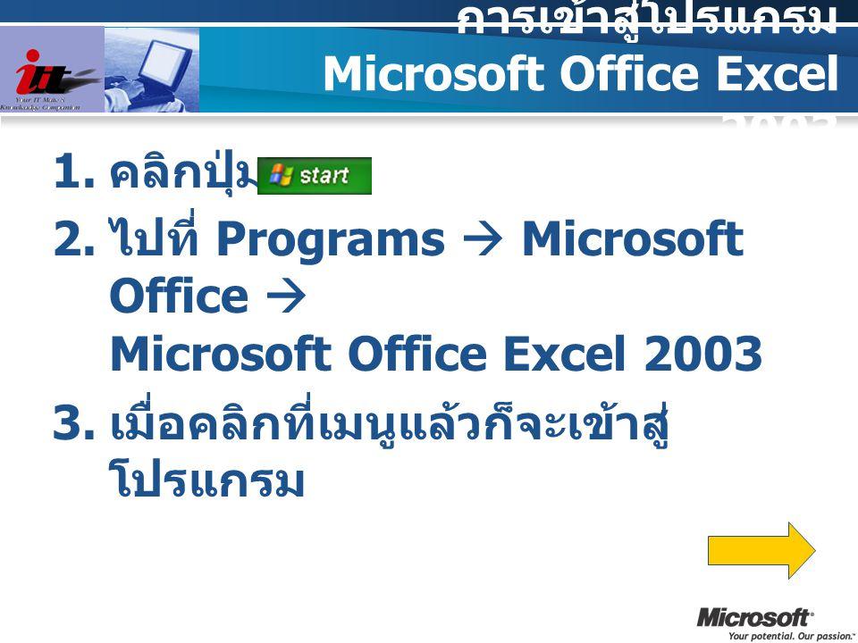 การเข้าสู่โปรแกรม Microsoft Office Excel 2003  คลิกปุ่ม  ไปที่ Programs  Microsoft Office  Microsoft Office Excel 2003  เมื่อคลิกที่เมนูแล้วก็