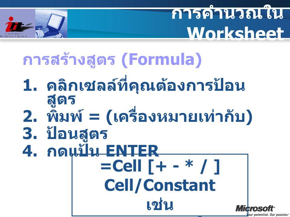 การคำนวณใน Worksheet การสร้างสูตร (Formula)  คลิกเซลล์ที่คุณต้องการป้อน สูตร  พิมพ์ = ( เครื่องหมายเท่ากับ )  ป้อนสูตร  กดแป้น ENTER =Cell [+