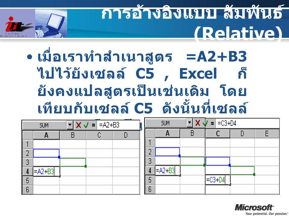การอ้างอิงแบบ สัมพันธ์ (Relative) เมื่อเราทำสำเนาสูตร =A2+B3 ไปไว้ยังเซลล์ C5, Excel ก็ ยังคงแปลสูตรเป็นเช่นเดิม โดย เทียบกับเซลล์ C5 ดังนั้นที่เซลล์