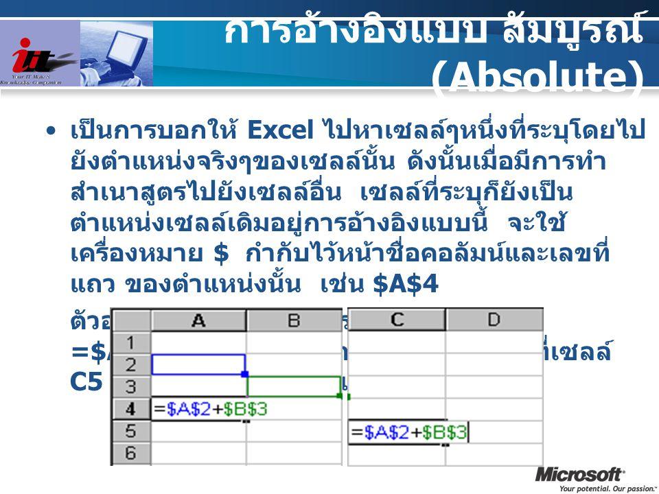 การอ้างอิงแบบ สัมบูรณ์ (Absolute) เป็นการบอกให้ Excel ไปหาเซลล์ๆหนึ่งที่ระบุโดยไป ยังตำแหน่งจริงๆของเซลล์นั้น ดังนั้นเมื่อมีการทำ สำเนาสูตรไปยังเซลล์อ