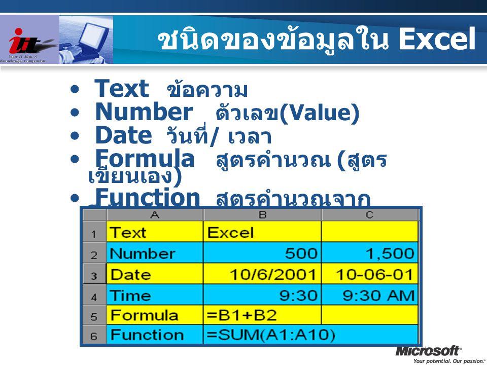 Text ข้อความ Number ตัวเลข (Value) Date วันที่ / เวลา Formula สูตรคำนวณ ( สูตร เขียนเอง ) Function สูตรคำนวณจาก โปรแกรม ชนิดของข้อมูลใน Excel